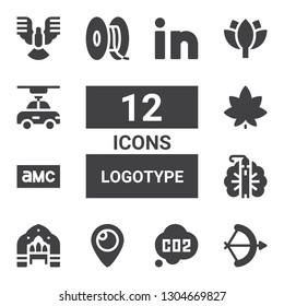 logotype icon set. Collection of 12 filled logotype icons included Arch, Co, Periscope, Peacock, Amc, Marijuana, d, Lotus, Dove, Linkedin
