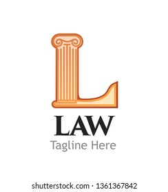 Logotype for Juridical or Law firm or business isolated on white background. Letter L in for of Ionic Order means Court. Vector illustration in EPS10.