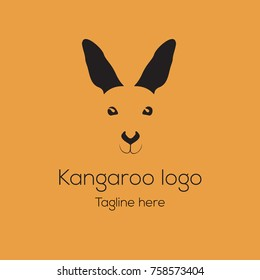 Logotype  kangaroo head, mascot character, cartoon for green pease, animal protection, veterinarian, vet, accessories, restaurant, bar, toys shop, store, eco products. Logo vector illustration