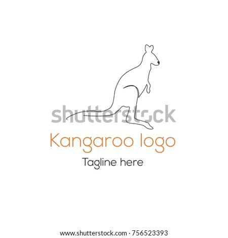 logotype kangaroo template character australian store stock vector