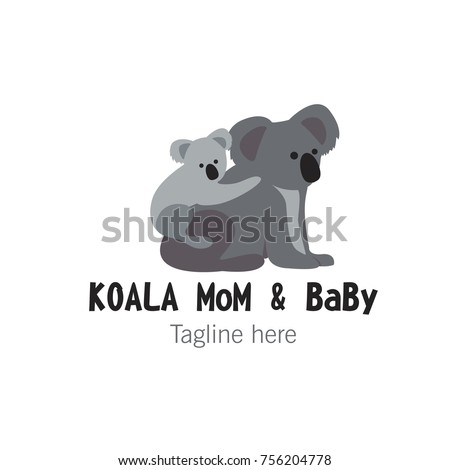 Logotype Koala Mom And Baby Template Mascot Character For Shop Magazines Store