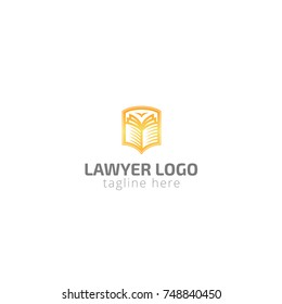 Logotype lawyer for advocate company, law, shield, security, protection of citizens, justification of innocent, sale, help, building. Logo vector illustration