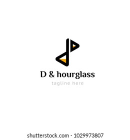 Logotype letter D and hourglass for company, shop, store, lawyer, quest,  taxi, security, logo vector