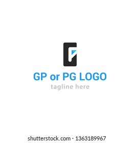 Logotype letter GP or PG for company, shop, store, lawyer, security, logo vector