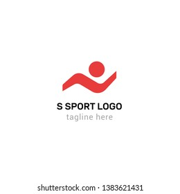 Logotype letter S, sport, logo vector for delivery, sports nutrition, everything for the sport hall, running people, waves
