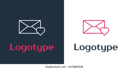 Logotype line Envelope with 8 March icon isolated on white background. Message love. Letter love and romance. International Happy Women Day. Logo design template element. Vector Illustration