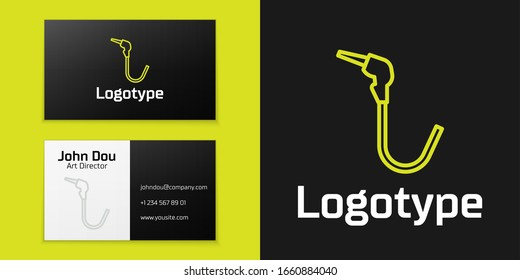 Logotype line Gasoline pump nozzle icon isolated on black background. Fuel pump petrol station. Refuel service sign. Gas station icon. Logo design template element. Vector Illustration