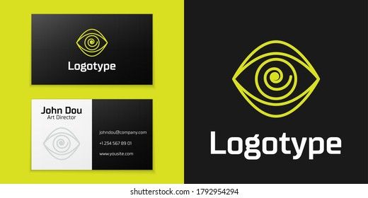 Logotype line Hypnosis icon isolated on black background. Human eye with spiral hypnotic iris. Logo design template element. Vector Illustration