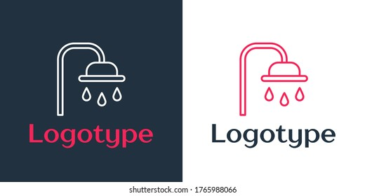 Logotype line Shower head with water drops flowing icon isolated on white background. Logo design template element. Vector Illustration