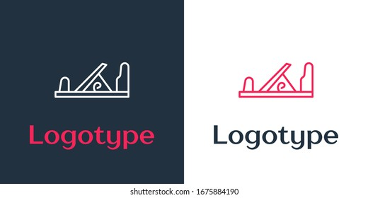 Logotype line Wood plane tool for woodworker hand crafted icon isolated on white background. Jointer plane. Logo design template element. Vector Illustration