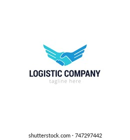 Logotype logistic company for shop, business, company, ship, product, hand in hand... Logo vector illustration