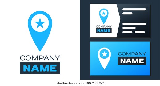 Logotype Map pointer with star icon isolated on white background. Star favorite pin map icon. Map markers. Logo design template element. Vector.