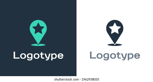 Logotype Map pointer with star icon isolated on white background. Star favorite pin map icon. Map markers. Logo design template element. Vector Illustration