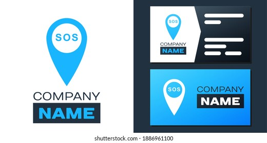Logotype Marker location with SOS icon isolated on white background. SOS call location marker. Map pointer sign. SOS pinpoint sign with text. Logo design template element. Vector.