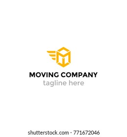 Logotype moving company, logo vector delivery, post, letter M, abstract box