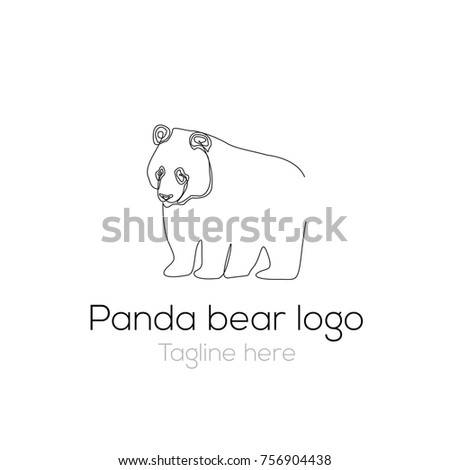logotype panda bear template character one stock vector royalty