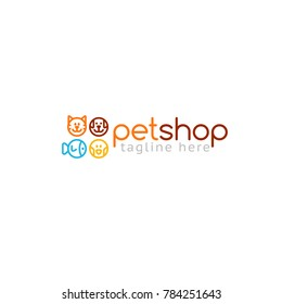 Logotype pet shop, logo vector for store, feed, zoo. Dog, fish, bird, cat
