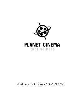 Logotype planet cinema, logo vector 2D, 3D, 5D video, films, movie