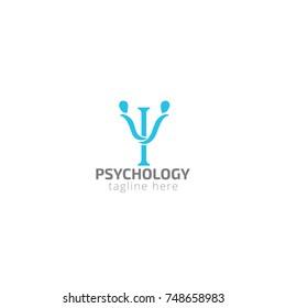 Logotype psychology for institute, school, psychological practice, treatment, magazines, dance studio, sale, shop, store. Logo vector illustration