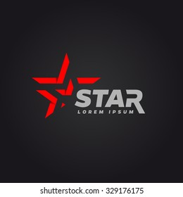 Logotype with red star. Logo design template.
