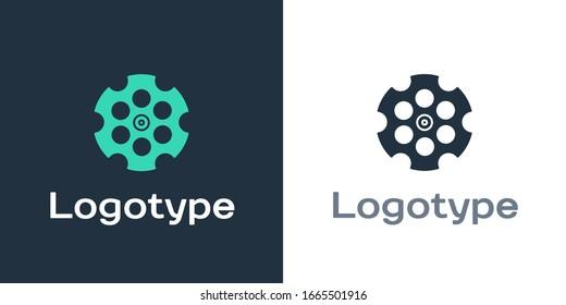 Logotype Revolver cylinder icon isolated on white background. Logo design template element. Vector Illustration