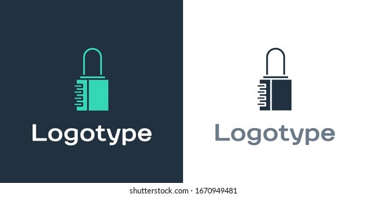 Logotype Safe combination lock icon isolated on white background. Combination padlock. Security, safety, protection, password, privacy. Logo design template element. Vector Illustration
