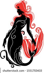 Logotype silhouette mermaid sitting on the waves . Isolated figure of girl from fairytale. Stylish spa salon logo