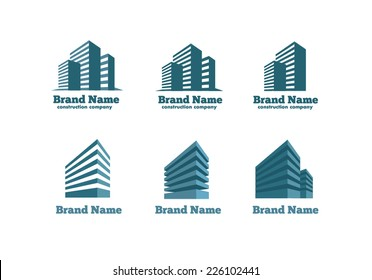 Logotype skyscrapers construction