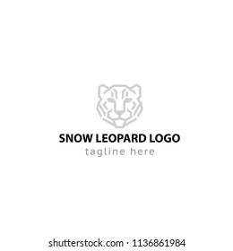 Logotype snow leopard, logo vector for shop, store, logistic, delivery