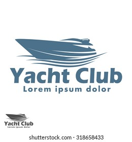 Logotype with speed luxury boat with example text
