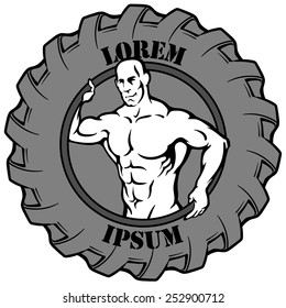 Logotype template. Muscular man's silhouette reaching out from a tire which is used for exercises in some fitness styles. EPS8 vector illustration isolated on white background.