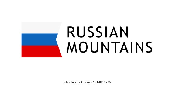 Logotype template for tours to Russian Caucasian Mountains, Vector lovable intelligible illustration with national flag of Russia isolated on white. Design for the skiing, hiking, climbing.