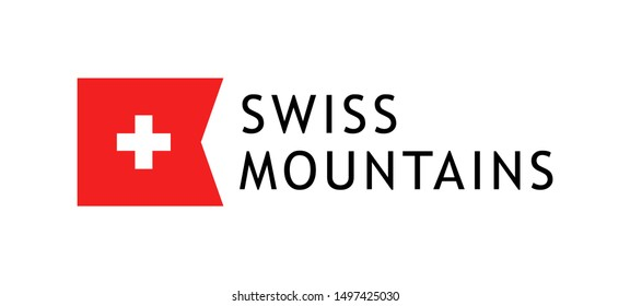 Logotype template for tours to swiss mountains, Vector lovable intelligible illustration with national flag of Switzerland isolated on white background.