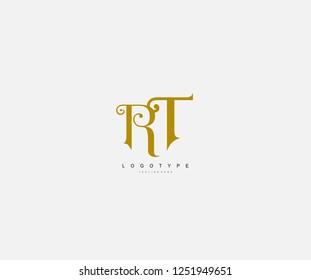 Logotype Text RT Letter Antique Beauty Swirl Feminine Monogram