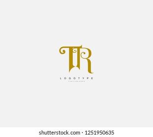 Logotype Text TR Letter Antique Beauty Swirl Feminine Monogram