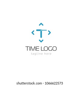 Logotype time, logo vector for logistic, delivery, company, business, shop, store, clock