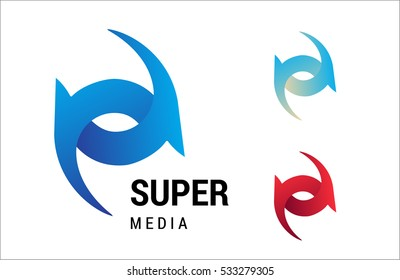 Logotype vector template for business, media, SEO, design, IT company. Dynamic abstract symbol or simple illustration.