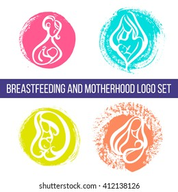 Logotypes set - Mother breastfeeding baby - vector illustration in bright happy colors. Motherhood and breastfeeding logo, symbol, emblem with brush strokes. Parenting concept. Newborn and mother.