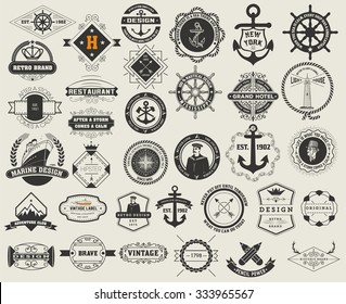 Logotypes set and Vintage Insignias. Vector design elements, logos, identity, objects, labels,and badges.