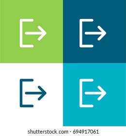 Logout green and blue material color minimal icon or logo design