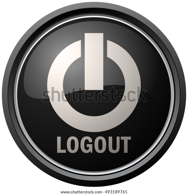 Logout Round Black and White Button, Vector Illustration.