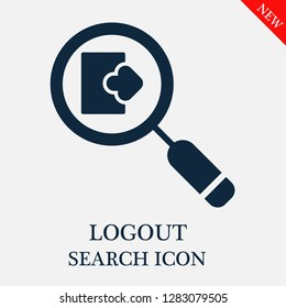 Logout search icon. Editable Logout search icon for web or mobile.