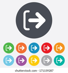 Logout sign icon. Sign out symbol. Arrow icon. Round colourful 11 buttons. Vector