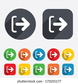 Logout sign icon. Sign out symbol. Arrow icon. Circles and rounded squares 12 buttons. Vector