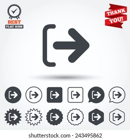 Logout sign icon. Sign out symbol. Arrow icon. Circle, star, speech bubble and square buttons. Award medal with check mark. Thank you ribbon. Vector