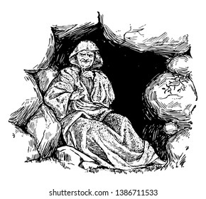Loki refused to weep while dressed as an old lady so that Baladur loses to Spirit World, vintage line drawing or engraving illustration.