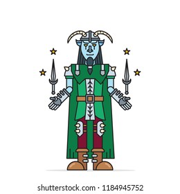 Loki - Scandinavian trickster god of mischief in horned helmet with two magical flying daggers. Colourful cartoon vector illustration.