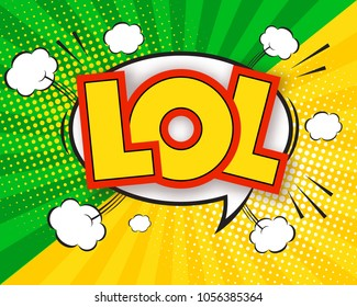 LOL comic pop art speech bubble quote, sunburst colorful background with rays. Cartoon speech bubble with cute graphic design elements.