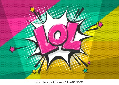Lol funny, wow comic text speech bubble. Colored pop art style sound effect. Halftone vector illustration banner. Vintage comics book poster. Colored funny cloud font.