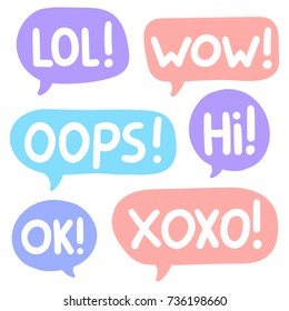Lol! Wow! Oops! Hi! ok! Xoxo! Set of lettering and hand drawn speech bubbles. Flat vector stickers, icons illustrations on white background.